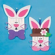 Simple Easter crafts for children and adults!Simple Easter crafts for children and adults! I love the tissue paper eggs and monogrammed eggs ways to celebrate April Popsicle Stick Craft Ideas for Preschool Children - Easy Easter Crafts, Crafts For Seniors, Spring Crafts For Kids, Bunny Crafts, Easter Crafts For Kids, Popsicle Stick Christmas Crafts, Popsicle Crafts, Popsicle Sticks, Craft Stick Crafts