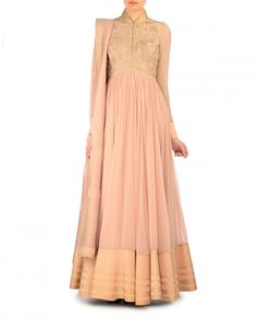 Blush Peach Anarkali Suit with Embroidered Bodice