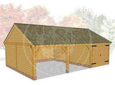 BYL3016   The Byton Low Ridge™   Oak Framed Garages and Outbuildings Timber Frame Garage, Carport Designs, Roof Covering, Garden Buildings, Brickwork, Garages, Outdoor Furniture, Outdoor Decor, Shed