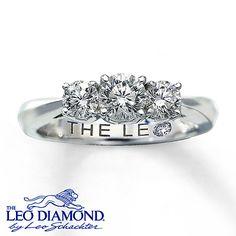 14K White Gold 1 Carat t.w. 3-Stone Leo Diamond Ring