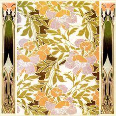 Art Nouveau Designs by R. Textile Pattern Design, Textile Patterns, Print Patterns, Fashion Illustration Vintage, Botanical Illustration, Illustration Art, Art Nouveau Design, Floral Prints, Art Prints
