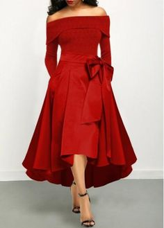 Cocktail Party Dress Bowknot Detail Off the Shoulder Red Maxi Dress Women's Fashion Dresses, Sexy Dresses, Casual Dresses, Red Maxi Dresses, Spring Dresses, Dress Red, Fashion Clothes, Jeans Fashion, Trendy Dresses