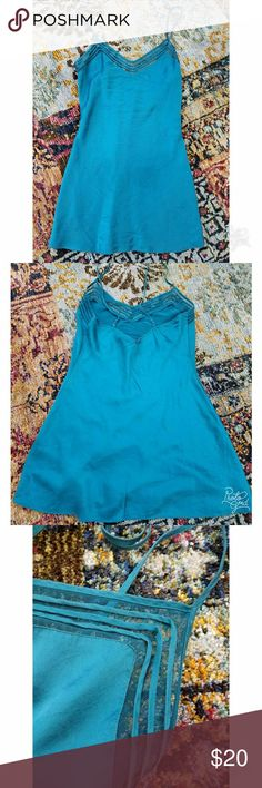 VS silk nighty Victoria's Secret nighty, in 100% silk. Lovely teal color, size medium. Third photo shows front detail. Adjustable straps. Used but in excellent condition! Victoria's Secret Intimates & Sleepwear Chemises & Slips