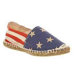 Office AQUA FLAT ESPADRILLE STARS & STRIPES Shoes - Womens Flats Shoes - Office Shoes