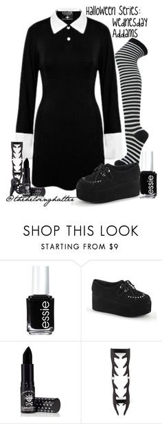 """Costumes// Wednesday Addams"" by thehelsinghatter ❤ liked on Polyvore featuring Essie, Killstar, halloweencostume and DIYHalloween"