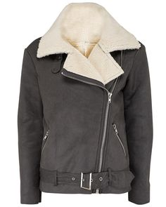 Oversized Grey Shearling Coat - Atterley Road @atterleyroad