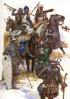 Latin Christian forces during the Northern Crusades Medieval World, Medieval Knight, Medieval Armor, Medieval Fantasy, Age Of Empires, Military Art, Military History, Crusader Knight, Ancient Armor