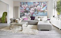 Magnolia  Zarte rosa Magnolienblüten vor hellblauem Himmel.  http://www.fototapete.de/index.php/magnolia.html