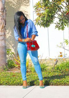 Tie up shirt + Light Blue Denim Jeans