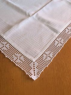 Crochet Lace Edging, Crochet Fabric, Crochet Borders, Crochet Chart, Crochet Home, Crochet Doilies, Hand Crochet, Knit Crochet, Crochet Table Runner
