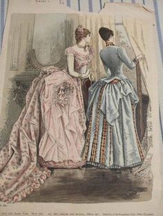 The era bustle. Day and evening dresses, about 1887