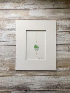 Original hanging plant pot seaglass Art Pebble Art Wall Art