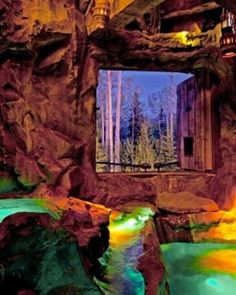 The hot springs grotto at Castlewood in Telluride, Colorado