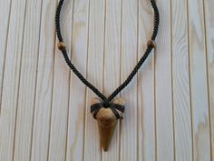 Fossilized Moroccan Shark Tooth Necklace/ Macrame/ Men's