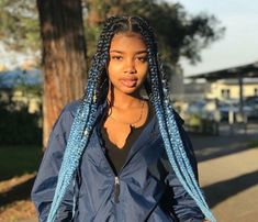 Endearing Jumbo Box Braids to Look Amazing. Box Braids make a beautiful combination of twists and creative hairstyles. You can be as creative as you want # Braids hairstyles afro Endearing Jumbo Box Braids to Look Amazing - The UnderCut Black Girl Braids, Braids For Black Hair, Girls Braids, Blue Hair Black Girl, Braided Hairstyles For Black Women, African Braids Hairstyles, Girl Hairstyles, Braid Hairstyles, Dreadlock Hairstyles