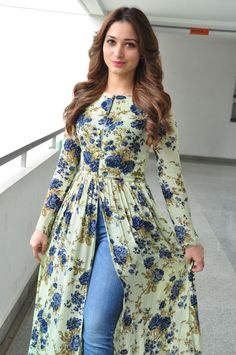 "High Quality Bollywood Celebrity Pictures: Tamannaah Bhatia Looks Super Sexy At ""Baahubali"" Promotional Interview In Hyderabad Pakistani Dresses Casual, Indian Gowns Dresses, Pakistani Dress Design, Frock Fashion, Fashion Dresses, Mode Kimono, Mode Abaya, Sleeves Designs For Dresses, Kurta Designs Women"