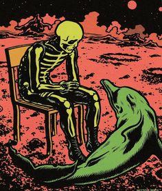Art Bizarre, Weird Art, Arte Horror, Horror Art, Comic Books Art, Comic Art, Pop Art Vintage, Arte Punk, Skeleton Art