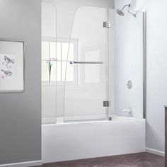 DreamLine SHDR-3148586-EX-04 Aqua 56 to 60 in. W x 58 in. H Tub Door, Nickel Finish Hardware