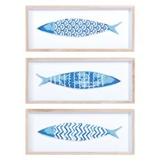 3 cuadros peces de madera azul 14 x 33 cm AZZURA