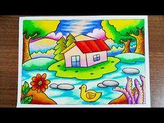 Menggambar Pemandangan alam Rumah & danau dengan gradasi crayon   Drawing Scenery of house and lake - YouTube Cute Disney Drawings, Small Drawings, Art Drawings For Kids, Easy Drawings, Scenery Drawing For Kids, Painting For Kids, Oil Pastel Art, Oil Pastel Drawings, Crayon Drawings