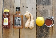Ingredients for Hot Toddy with Sriracha...cures a headcold! used brandy instead of whiskey