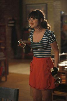"Jess' (Zooey Deschanel) top/skirt combo from the ""Bells"" episode of NEW GIRL on FOX."