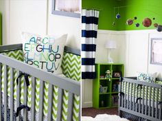 liking the neon green and the chevrons ... can accent it up with pinks or blues, depending on gender :)  use the green as an accent wall(s) and light grey on other walls?