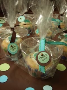 A cute thank you gift idea-this is even a cute way to hand out cupcakes to the girls....attatch a little bee to it.