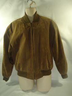 VINTAGE Men's Saville Row Suede Leather Brown Coat Bomber Jacket Flannel Lined-M #SavilleRow #FlightBomber