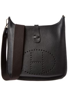 Hermes Black Clemence Leather Evelyne II GM