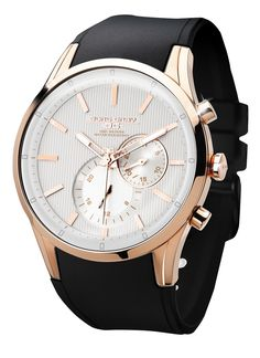 FREE US SHIPPING. Jorg Gray JG5100-34 Men's Watch Multifunction White Striped Dial With Rose Gold Case Black Strap. Manufacturer Warranty Included.