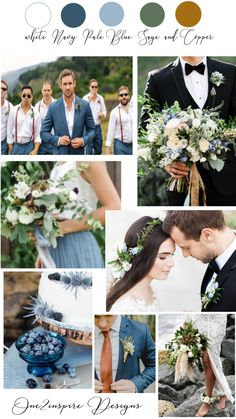 Lots of blue wedding inspiration and ideas like this white, navy blue, dusty blue, sage green and copper wedding color palette. Wedding Color Pallet, Rustic Wedding Colors, Spring Wedding Colors, Wedding Color Schemes, Neutral Color Wedding, Wedding Colors Green, Copper Wedding Decor, Navy Blue Wedding Theme, Sage Green Wedding