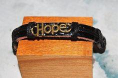 bracelet+homme+/+femme+réglable+cuir+et+médaille+de+bronze++grand+model++breloque,+amulette+espoir+hope