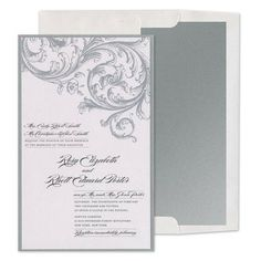 Silver Baroque Invitations - Jasmine & Woo (#109822) |  FineStationery.com
