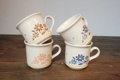 Cute coffee Mugs Biltons flower mugs Biltons by VintageVitrineShop