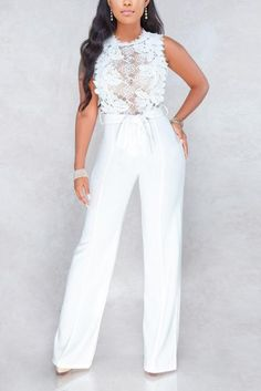 A Chicloth Sexy Lace Patchwork Perspective Palazz Jumpsuit For Wedding Guest, Wedding Jumpsuit, Lace Jumpsuit, Lace Romper, White Romper, White Outfits For Women, All White Outfit, Clothes For Women, White Jumpsuit Formal