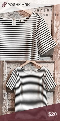 Banana Republic striped stretch ponte top Gorgeous top!  Structured with some stretch. Darting at chest. Great mid length sleeve. Great condition. Goes with everything! Love!❤️ Banana Republic Tops Blouses