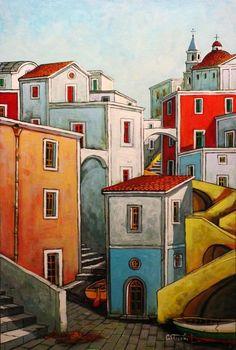 City Painting, Gouache Painting, Stencil Painting, Watercolor Architecture, Art And Architecture, Wal Art, Building Art, City Landscape, Naive Art