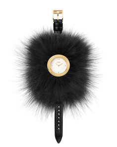 "Fendi Timepieces ""Fendi My Way"" watch. Round golden PVD case, 36mm (approx. 1.4""). Removable dyed fox fur (Finland) Glamy. Calf leather strap, 175mm (7""L). Polished dial with four indexes and logo cro"