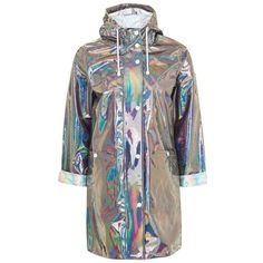 Women's Topshop Iridescent Rain Jacket ($95) ❤ liked on Polyvore featuring outerwear, jackets, coats, brown jacket, light weight jacket, lightweight rain jacket, lightweight jackets and topshop jackets