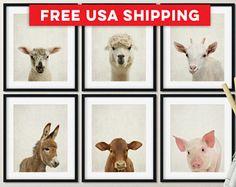 Farm animal nursery prints, Farmhouse nursery, Baby Farm Animal shower, Nursery farm decor, Farm animals, Farm baby room Print/Canvas/Digi