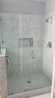 Carrera Marble Shower Shower Niche, Shower Tiles, Master Shower, Master Bathroom, Marble Showers, Marble Bathrooms, Small Bathroom, Bathroom Designs, Bathroom Ideas