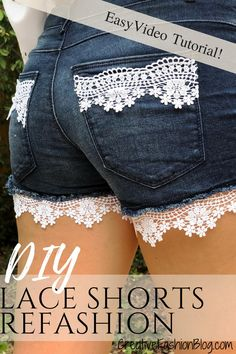 Denim DIY Lace Shorts Refashion 2019 In todays DIY Ill be showing you a quick and easy way to refashion your denim shorts with this simple DIY lace shorts refashion. The post Denim DIY Lace Shorts Refashion 2019 appeared first on Lace Diy. Diy Lace Shorts, Diy Jeans To Shorts, Diy Lace On Jeans, Denim Shorts With Lace, Shorts Tutorial, Diy Clothes Refashion, Diy Clothes Tutorial, Refashioned Clothing, Diy Kleidung
