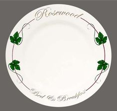 Rosewood B & B. Beautiful Classy Bed and Breakfast with their own pattern and designed dinner plate.