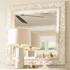 Beveled Mirror with a dentil-molded laurel leaf hardwood frame from the Paula Deen collection: 314.95