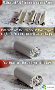 Great idea for robo / dwarf hamster toy. Diy Rat Toys, Diy Hamster Toys, Diy Bunny Toys, Diy Bird Toys, Hamster Care, Diy Degu Toys, Diy Rodent Toys, Diy Toys For Rabbits, Diy Chinchilla Toys