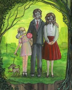 Original art was acrylic and pen on canvas. A depiction of a family in gas masks post war. Nuclear Family, Gas Masks, People Figures, Enchanted, Revolution, Amanda, Original Art, Canvas, Prints