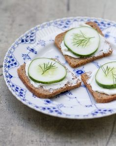 Cucumber rye toasts.