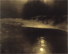 Edward Steichen - Moonlight - Winter - Milwaukee, 1902, gum bichromate print