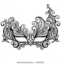 Elegant asymmetrical lace masquerade mask isolated on white background. Vector i… Elegant asymmetrical lace masquerade mask isolated on white background. Masquerade Mask Template, Lace Masquerade Masks, Mardi Gras Mask Template, Colouring Pages, Coloring Books, Mask Drawing, Lace Mask, 3d Pen, Feather Crafts
